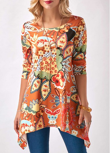 Buy online Round Neck Printed Sharkbite Hem Blouse