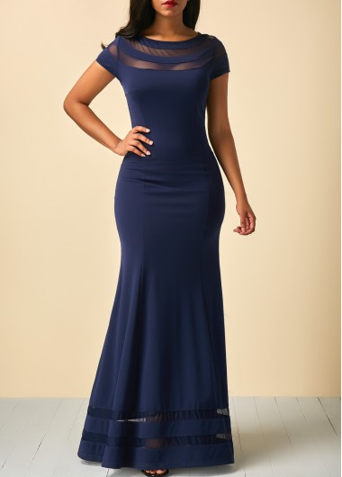 Buy online Mesh Panel Cap Sleeve Navy Blue Dress