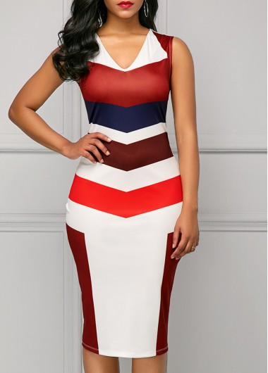 Buy online V Neck Sleeveless Printed Sheath Dress
