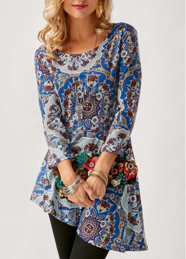 Buy online Asymmetric Hem Scoop Neck Printed Blouse
