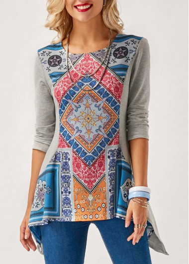 Buy online Three Quarter Sleeve Printed Asymmetric Hem Blouse