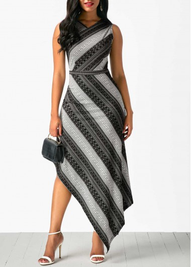 Buy online Printed Asymmetric Hem Sleeveless V Neck Dress