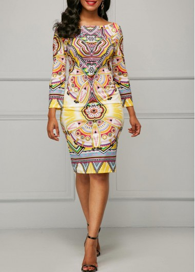 Buy online Long Sleeve Printed Yellow Sheath Dress