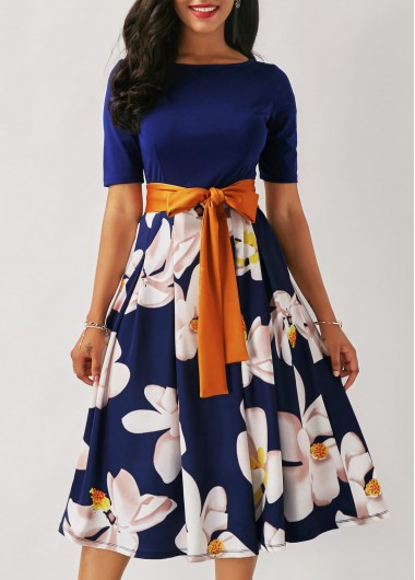 Buy online Flower Print Belted Navy Blue Dress