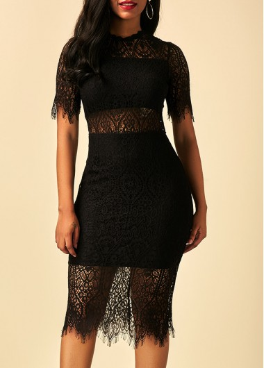 Buy online Back Slit Short Sleeve Black Lace Dress