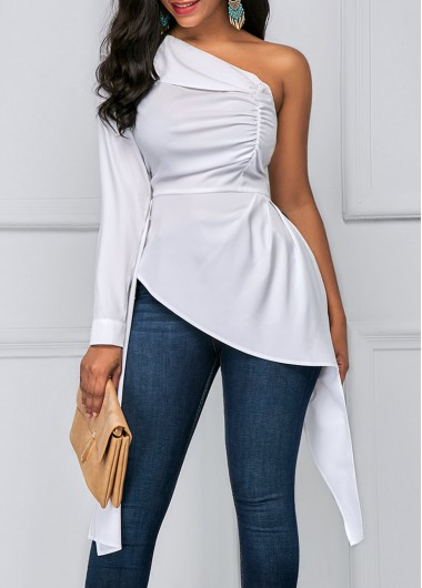 Buy online One Shoulder Asymmetric Hem White Blouse