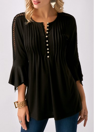 Buy online Black Three Quarter Sleeve Crinkle Chest Blouse
