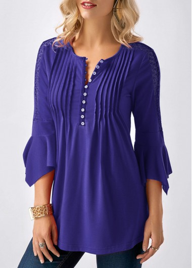 Buy online Three Quarter Sleeve Crinkle Chest Split Neck Blouse