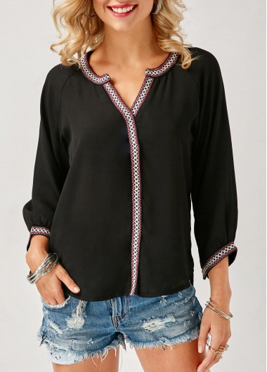 Buy online Split Neck Printed Asymmetric Hem Black Blouse