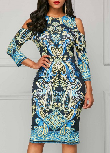 Buy online Cold Shoulder Three Quarter Sleeve Printed Dress