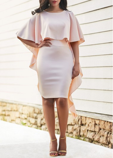 Buy online Overlay Embellished Half Sleeve Sheath Dress