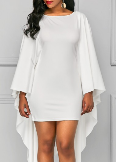 Buy online Cape Sleeve Solid White Sheath Dress