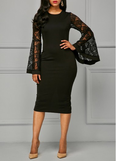 Buy online Flare Sleeve Back Slit Black Sheath Dress