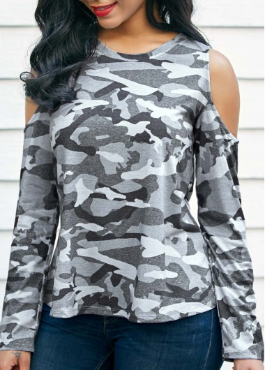 Buy online Camouflage Print Cold Shoulder Long Sleeve T Shirt