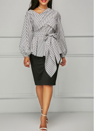 Buy online Belted Stripe Print Lantern Sleeve Blouse