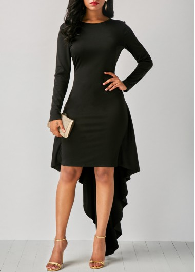Buy online Round Neck Long Sleeve Black Dip Hem Dress