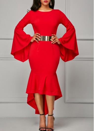 Buy online Red Flare Sleeve Asymmetric Hem Sheath Dress