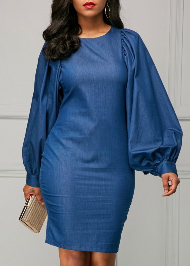 Buy online Blue Lantern Sleeve Back Slit Sheath Dress