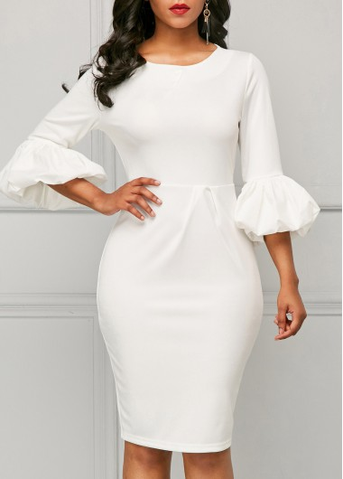 Buy online White Back Slit Three Quarter Sleeve Sheath Dress