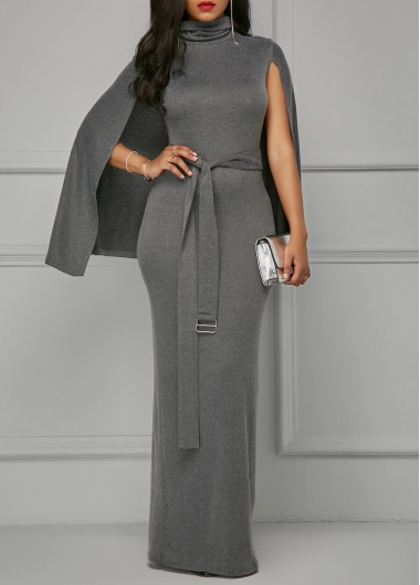 Buy online High Neck Belted Grey Cape Dress