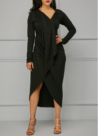 Buy online Black V Neck Asymmetric Hem Draped Dress