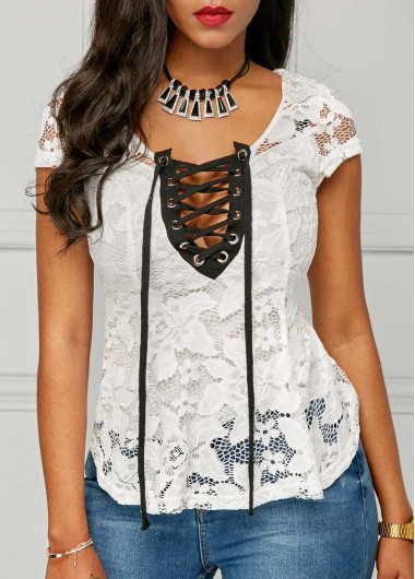 Buy online Lace Up Cap Sleeve White Blouse