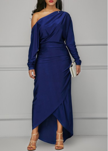 Buy online Skew Neck Navy Blue Maxi Dress