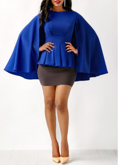 Buy online Cape Shoulder Peplum Waist Blue Blouse