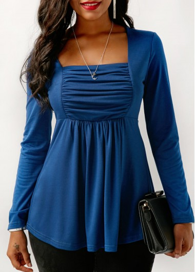 Buy online Square Collar Long Sleeve Blue Blouse