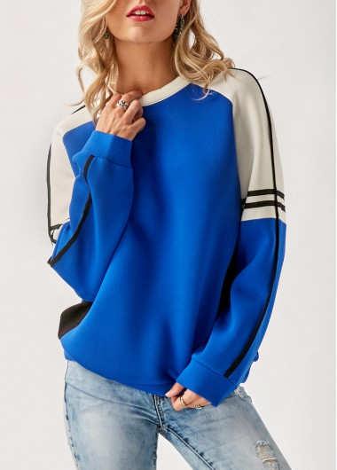Buy online Long Sleeve Patchwork Blue Pullover Sweatshirt