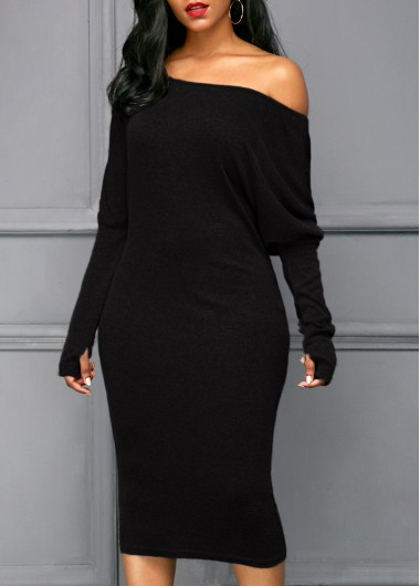 Buy online Long Sleeve Black Skew Neck Dress