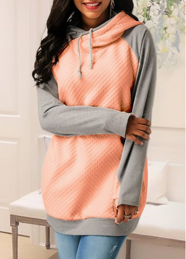 Buy online Raglan Sleeve Patchwork Pink Pocket Hoodie