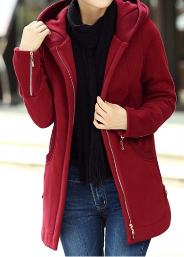 Hooded Collar Zipper Up Wine Red Curved Coat