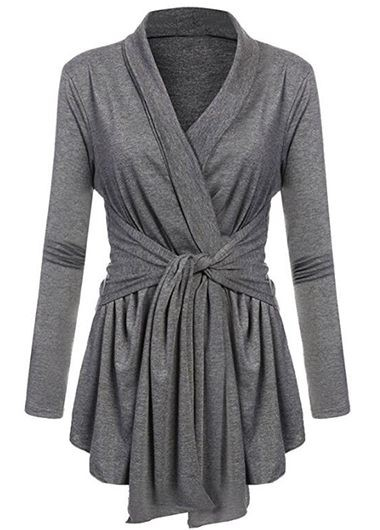 Buy online Shawl Collar Tie Front Long Sleeve Grey Cardigan
