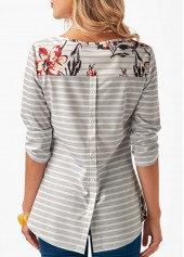 wholesale Button Back Printed Round Neck T Shirt