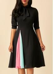 wholesale Half Sleeve Tie Neck Black Dress
