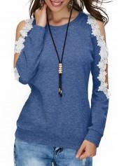 Lace Panel Cold Shoulder Blue Blouse