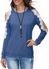 wholesale Lace Panel Cold Shoulder Blue Blouse