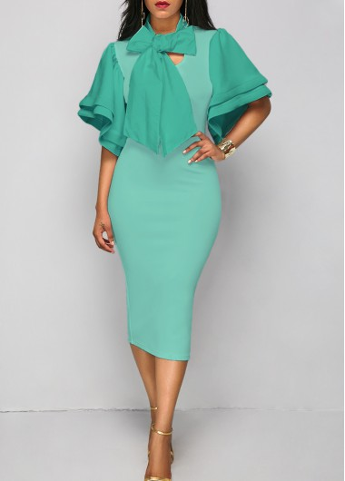 Buy online Tie Neck Layered Sleeve Sheath Dress