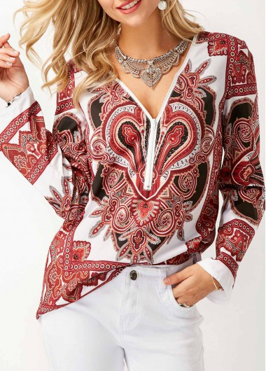 Buy online Long Sleeve V Neck Printed Blouse