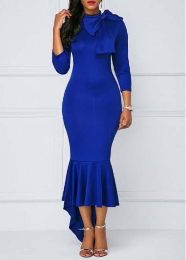 Buy online Peplum Hem Bowknot Embellished Blue Dress
