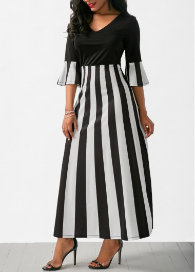 Buy online V Neck Striped Flare Sleeve Maxi Dress