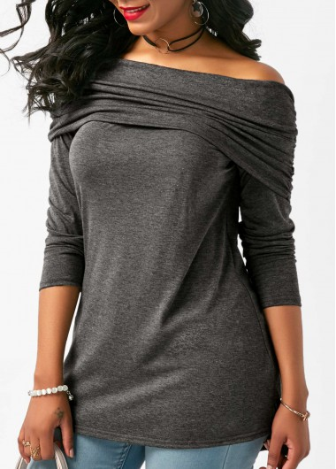 Buy online Off the Shoulder Deep Grey Ruched Blouse
