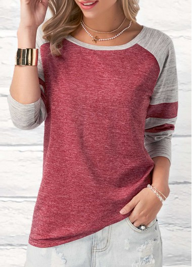 Buy online Wine Red Long Sleeve Round Neck Patchwork T Shirt