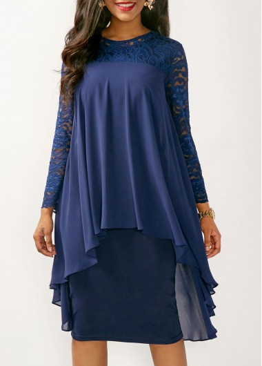 Buy online Lace Yoke Long Sleeve Navy Dress