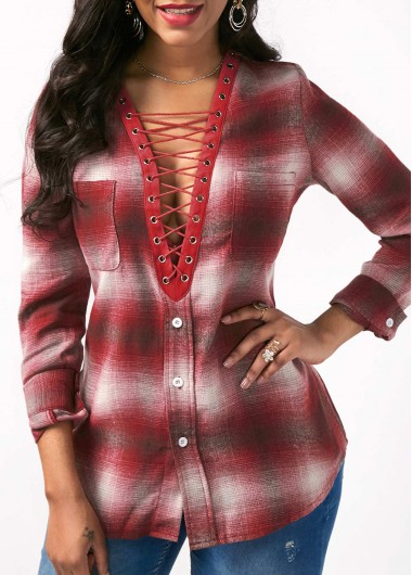 Buy online Lace Up Front Long Sleeve Printed Blouse