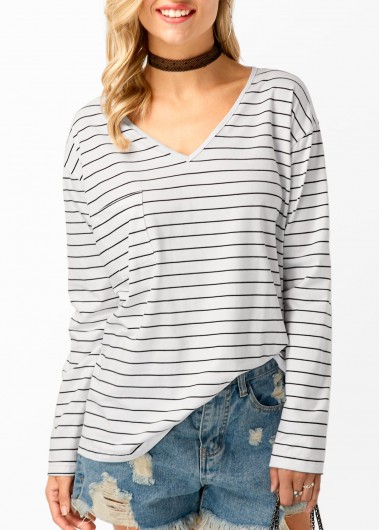 Buy online Stripe Print V Neck Long Sleeve T Shirt