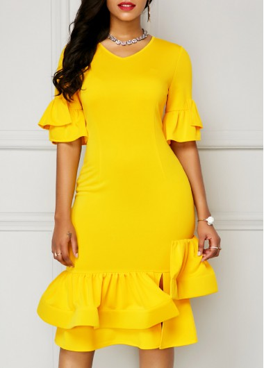 Buy online V Neck Flare Sleeve Yellow Sheath Dress