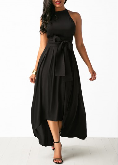 Buy online Asymmetric Hem Belted Black Maxi Dress and Cardigan