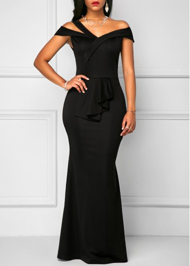 Buy online Black High Waist Zipper Back Maxi Dress